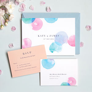 Modern Watercolour Wedding Invitation And RSVP