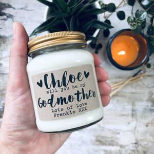 Personalised 'Will You Be My Godmother/Father' Candle