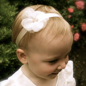 Charlotte Silk Flower Girl & Baby Hairband - wedding and party outfits