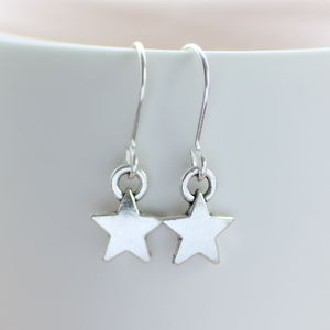 Silver Star Earrings - winter sale