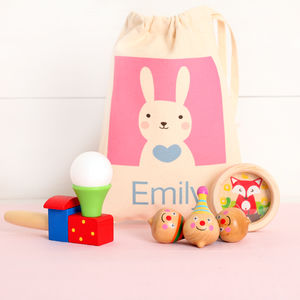 Traditional Wooden Toy Set And Personalised Rabbit Bag