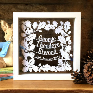 Personalised Woodland New Baby Naming Gift