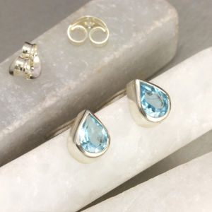 Blue Topaz Ear Studs