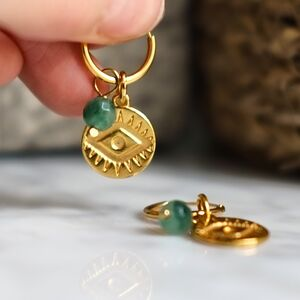 Gold Evil Eye And Birthstone Earrings
