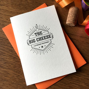 'Big Cheese' Letterpress Card - all purpose cards