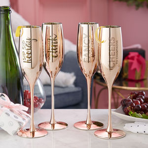 Gift Boxed Metallic Champagne Flute Set - wine glasses & goblets