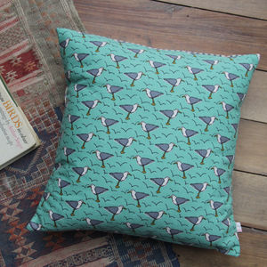 Seagull Printed Cushion - bedroom