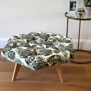 Tropical Leaf Pattern Buttoned Hexagonal Footstool - living room