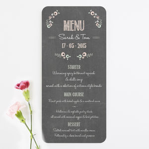 Pastel Floral Chalkboard Wedding Menu - wedding stationery