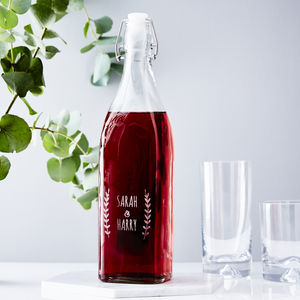 Laurel Personalised Glass Bottle - kitchen accessories
