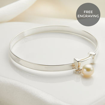 Personalised Baby's First Pearl Christening Bangle