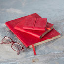 Handmade Red Embossed Leather Notebook