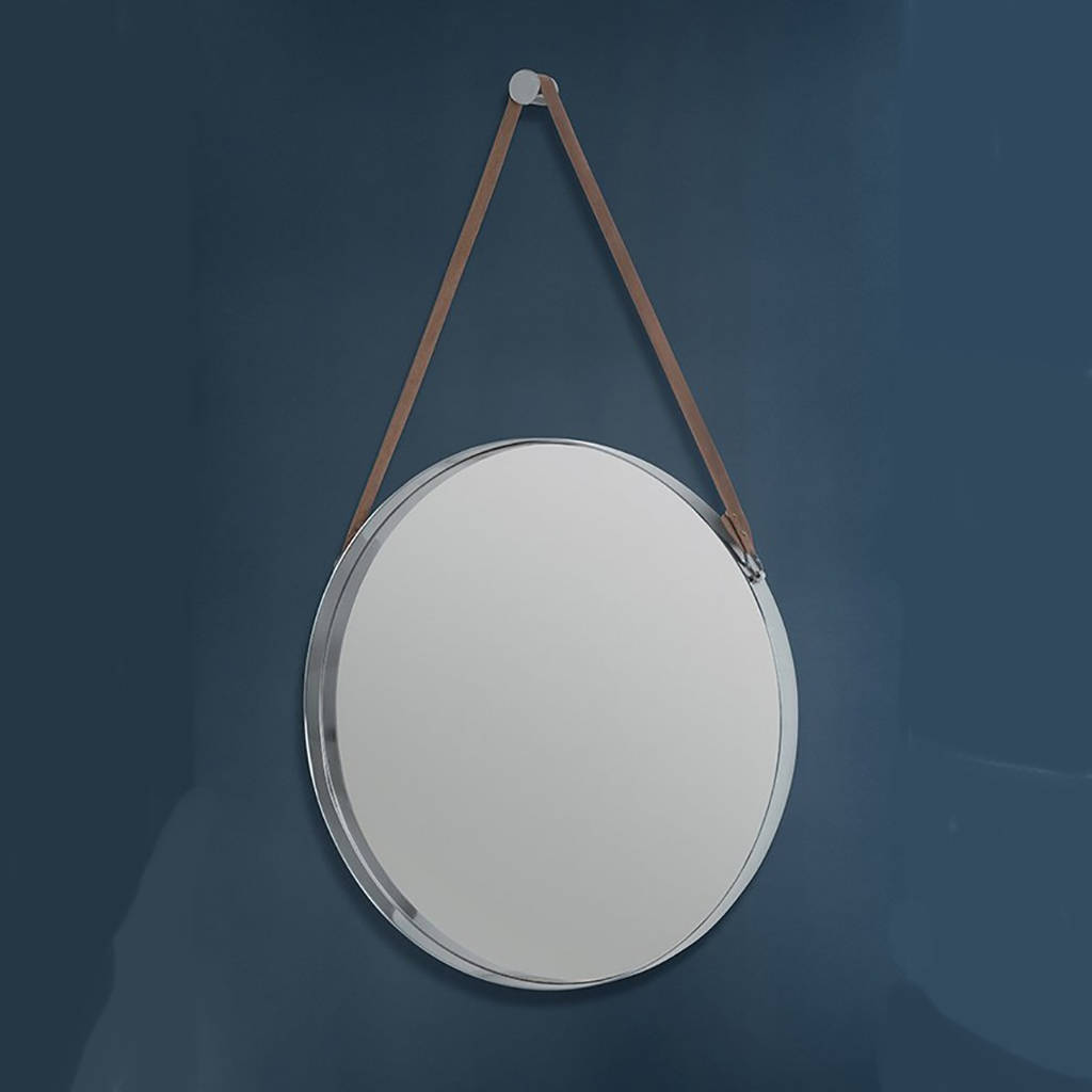 Round stainless steel and leather hanging wall mirror by i for Hanging mirror