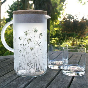 Meadow Flower Frosted Glass And Cork Jug