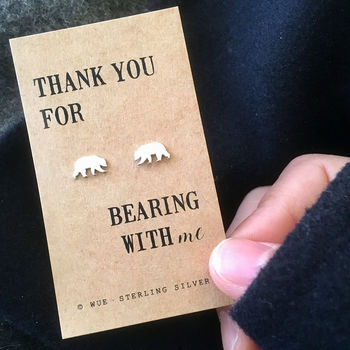 Thank You Bear Silver Earrings