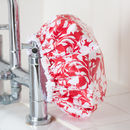Waterproof Shower Cap In Red Tropical Floral Print