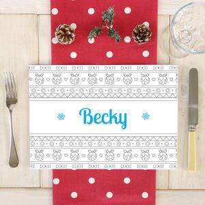 Personalised Christmas Scandi Colouring Placemat - placemats & coasters