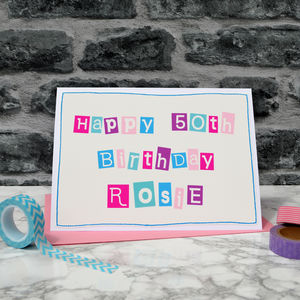 Personalised Womens 50th Birthday Card - birthday cards