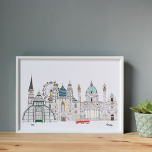 Vienna Cityscape Illustration Print - maps & locations