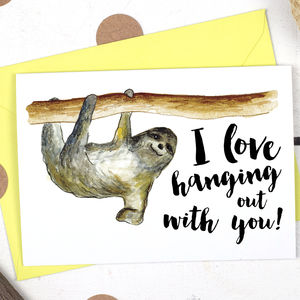 Sloth Animal Pun Valentine's Card
