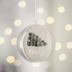 Personalised Pebble Family Christmas Bauble