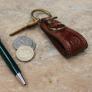 Personalised Leather Groomsman's Key Ring. 'The Nepi'