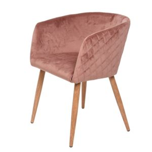 Dusky Pink Velvet Quilted Chair