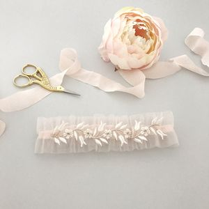 Blush Tulle Wedding Garter With Delicate Lace - bridal garters