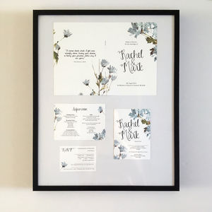 Watercolour Floral And Calligraphy Wedding Invitation - invitations