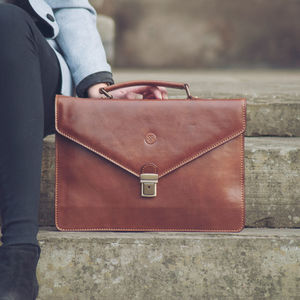 Personalised Small Leather Briefcase.'The Lorenzo'