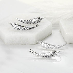 Sterling Silver Fern Leaf Ear Climbers - earrings