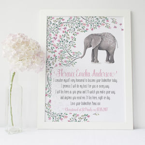 From The Godparent Christening Girls Boys Print - nursery pictures & prints