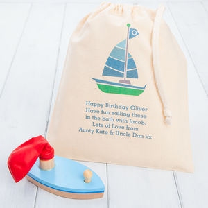 Wooden Balloon Toy Boat And Personalised Gift Bag