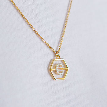 14 K Gold Vermeil Diamond Hexagon Initial Pendant