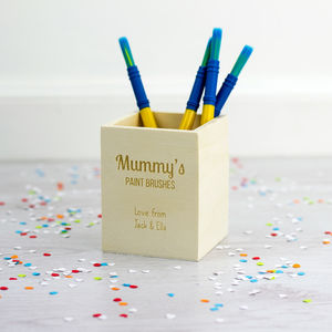 Personalised Wooden Paint Brush Pot - desk accessories
