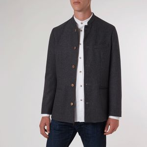 Charcoal Twill Nehru Jacket - coats & jackets
