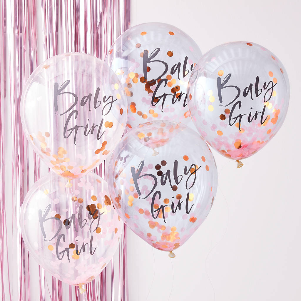 71a685c44cf7f Pink And Rose Gold Baby Girl Confetti Filled Balloons