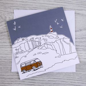 Campervan Greetings Card 'Sea View'