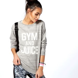 Gym And Juice Sweatshirt, Grey And White
