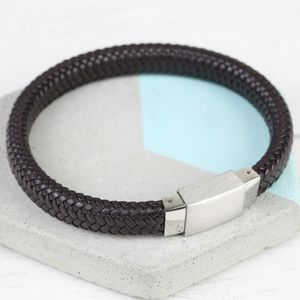 Men's Woven Leather Bracelet With Square Clasp