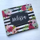 Personalised Floral And Watercolour Stripe Mouse Mat