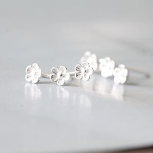 Silver Three Flowers Ear Studs - earrings