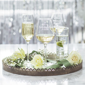 Personalised 'Be My Maid Of Honour?' Glass
