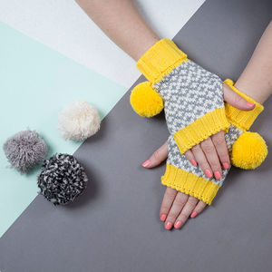 Yellow Graphic Fingerless - hats & gloves