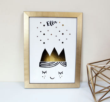 Scandinavian Children's Art Print With Gold Foil