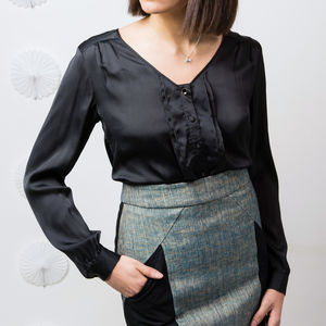 Emilia Satin Blouse Black - blouses & shirts
