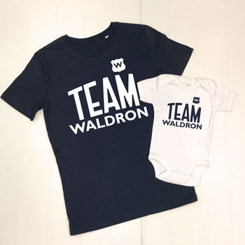 Team Surname Personalised Football Father And Child Set