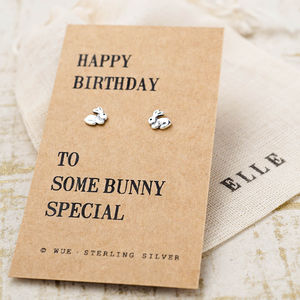 Happy Birthday Bunny Earrings - earrings