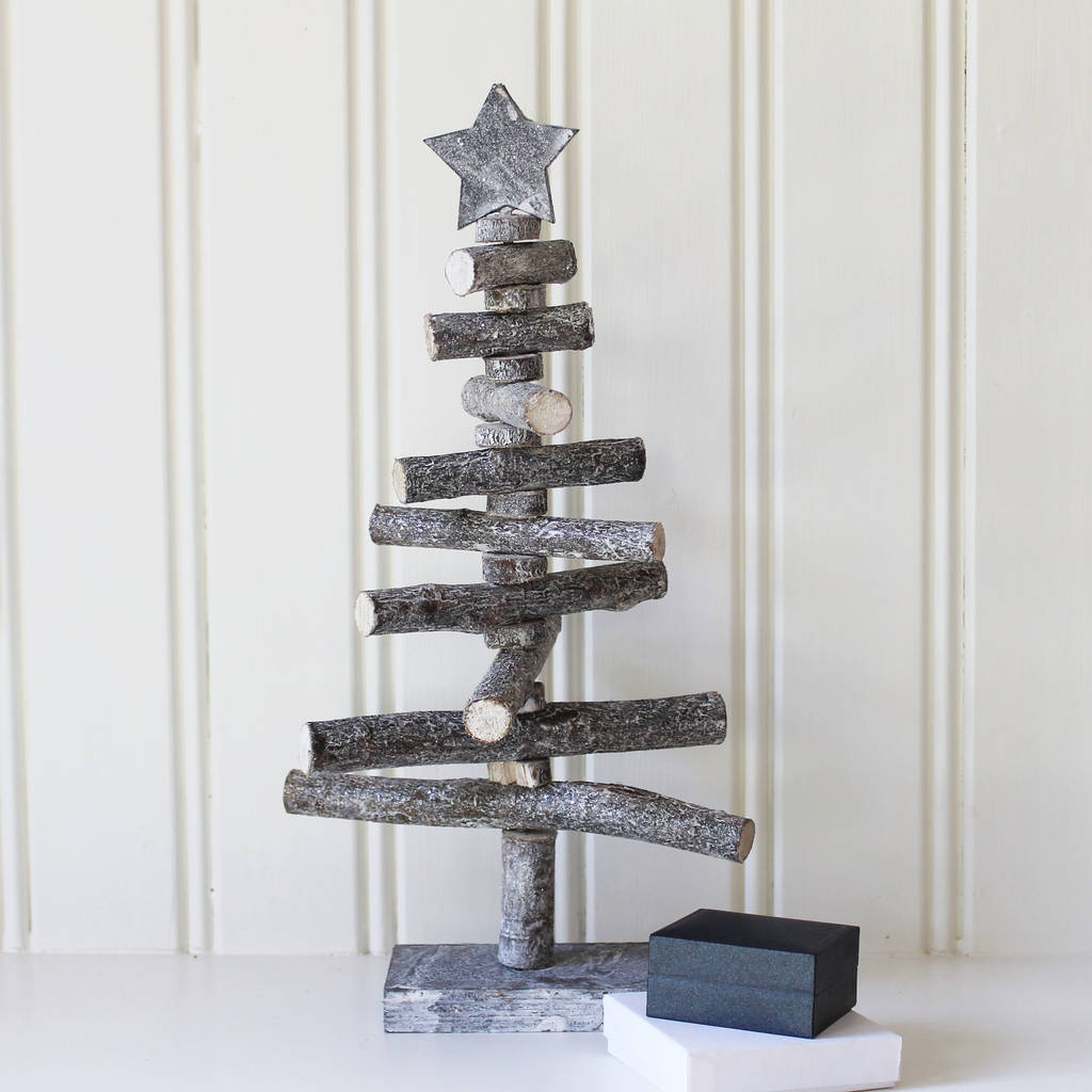 shimmery mini wooden christmas tree with star by lime tree london ...