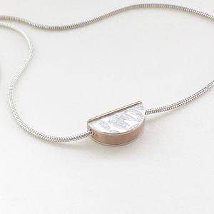 'Half Round' Silver And Brass Embossed Necklace - necklaces & pendants